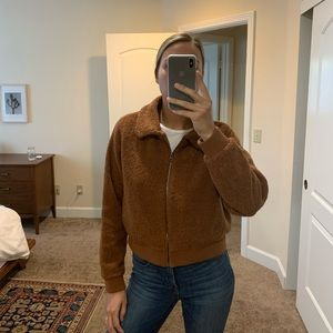 Fitted Cropped Teddy Jacket